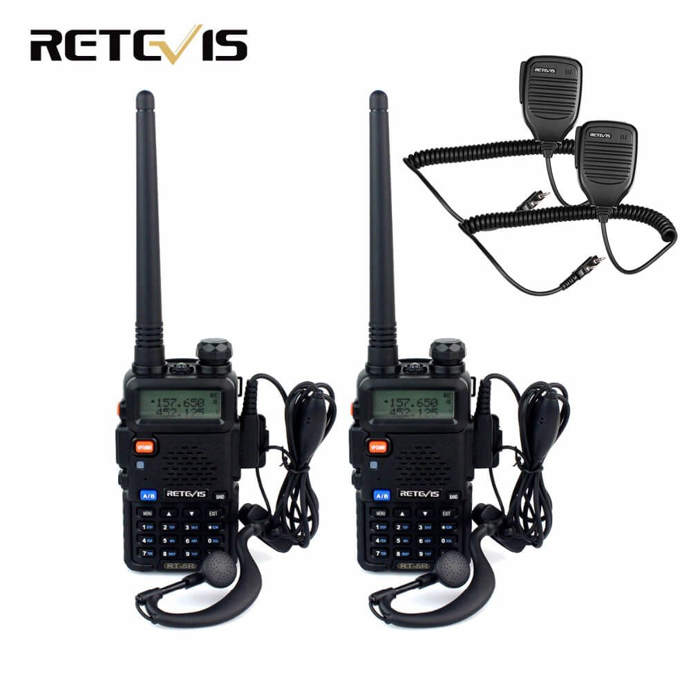 2pcs Walkie Talkie Retevis RT5R+2pcs Speaker Microphone 5W 128CH Dual Band UHF VHF Radio Handheld Transceiver Walkie-Talkie