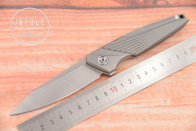 JUFULE Neue Original M390 klinge TC4 Titan Flipper Speeder folding camping jagd tasche frucht EDC werkzeug abendessen küchenmesser