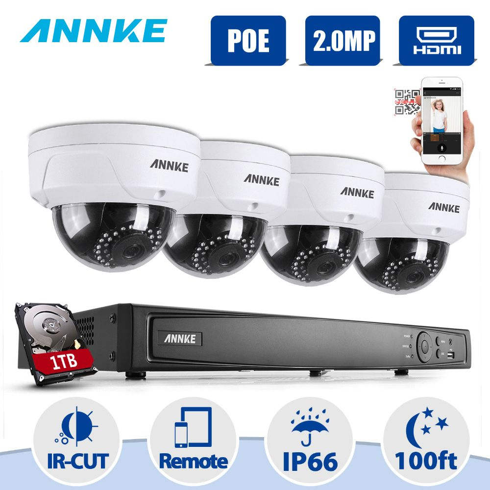 ANNKE NVR Kit 4 Cameras 1080P 8CH 2.0MP H.264+ NVR PoE IP Network WDR CCTV Security Camera System 1080P Surveillance Kit 1TB HDD