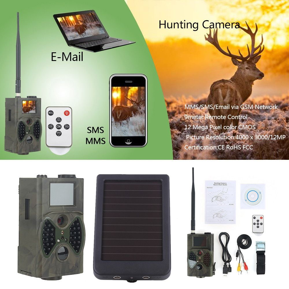 Scout Guard Hunting Trail Cameras HC300M HC300A Solar Panel Charger External Power for Time Lapse WildCamera Chasse Video Camera