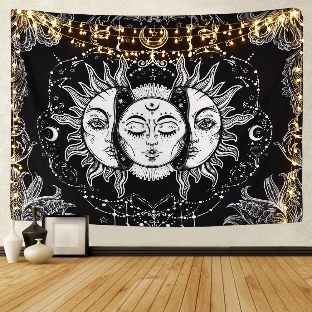 Blanc noir soleil lune Mandala tapisserie tenture murale céleste tapisserie Hippie tapisserie murale tapis dortoir décor bohème psychédélique tapisserie