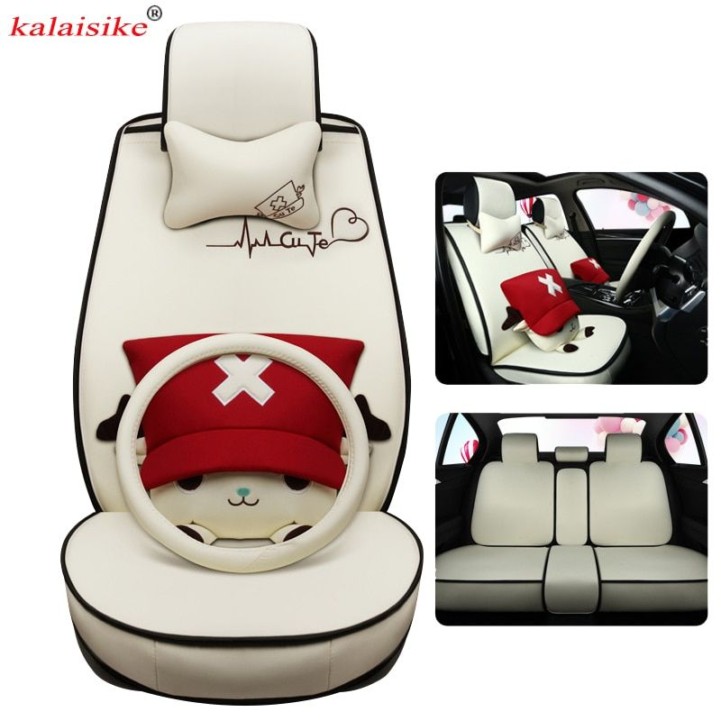 kalaisike Cute Cartoon flax Universal Car Seat Covers Fit Most Styling four seasons Auto Seat Covers Car Interior protector