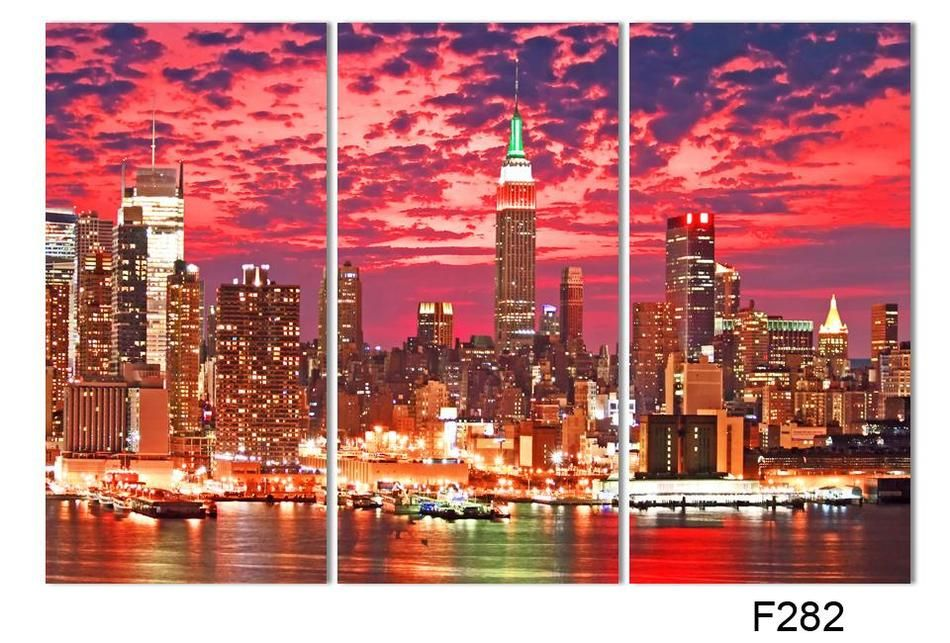 2017 Hot Sell 3 panel Colorful City Night Large HD Picture Modern Home Wall Decor Canvas Print Painting For House Decorate
