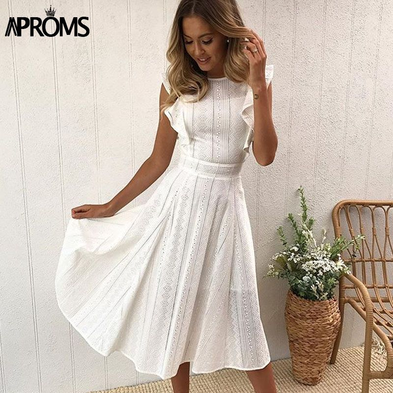 Aproms Elegant Ruffle White Lace Hollow Out Dress Women 2018 Summer Sleeveless Party Dresses Knee-Length Blue Sundresses Vestido