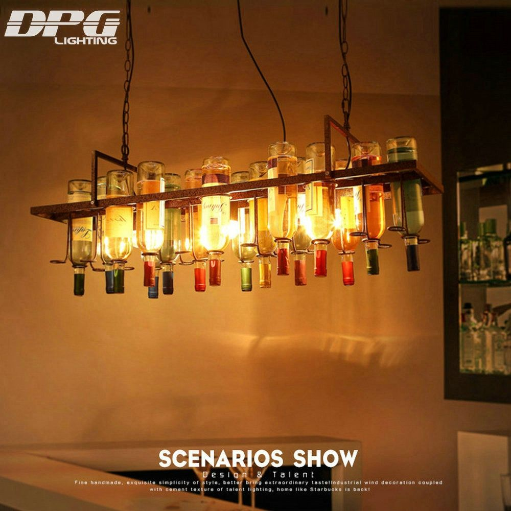 vintage style loft led lamp pendant hanging lights glass bottles light E27 LED industrial lighting for bar restaurant decoration