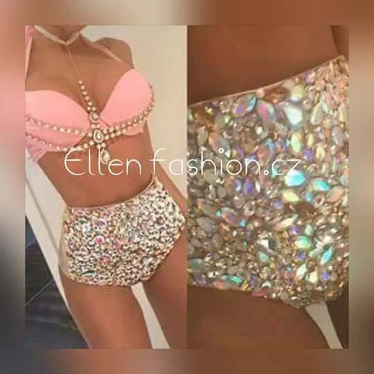 2016 Venus Vacation hot selling open hot girl push up bikini bling rhinestone swimwear with chains
