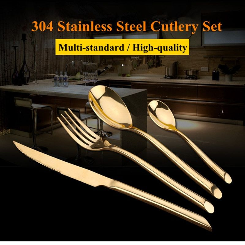 KTL 24 Pcs/Set Black Dinnerware Set 304 Stainless Steel Golden Dinner Knives Forks Scoops Teaspoons Cutlery Set Tableware Gift