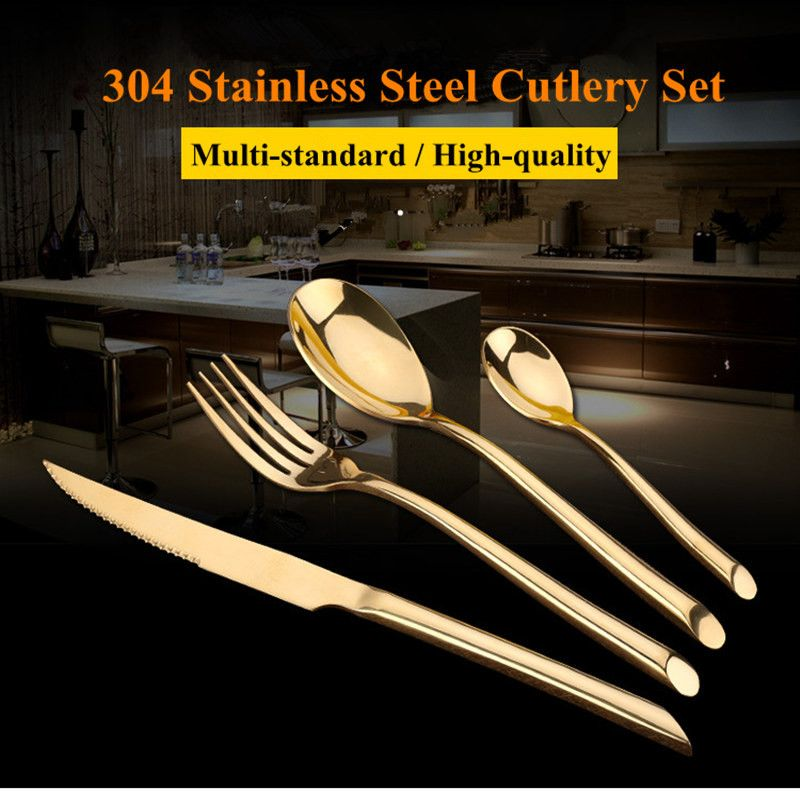 KTL 24 Pcs/Set Black Dinnerware Set 304 Stainless Steel <font><b>Golden</b></font> Dinner Knives Forks Scoops Teaspoons Cutlery Set Tableware Gift