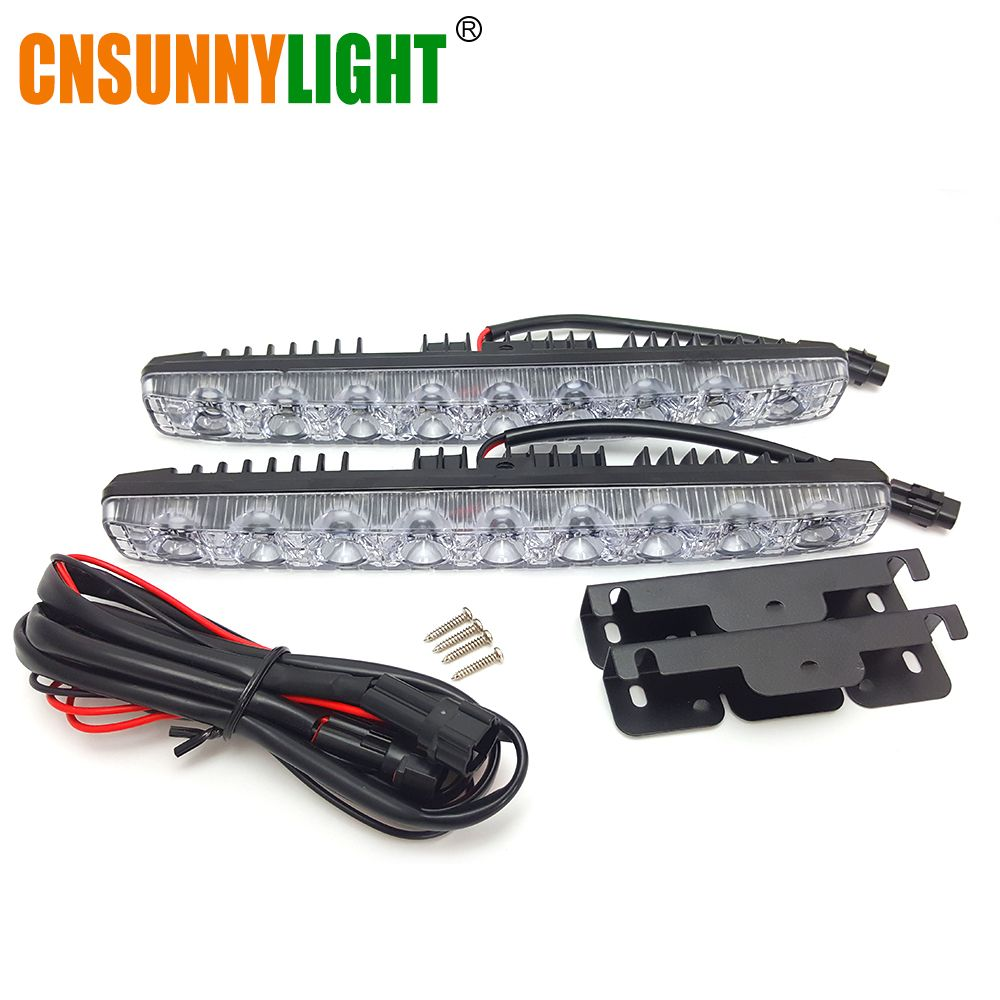 CNSUNNYLIGHT High Quality LED DRL Car Daytime Running Lights Daylight Automotives Fog light 9 LEDs Super Bright 6000K Waterproof
