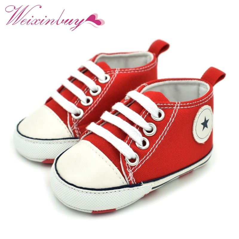 Fashion Infant Tollder Canvas Crib Shoes Baby Boys Girls Sneaker Prewalker 0-18M