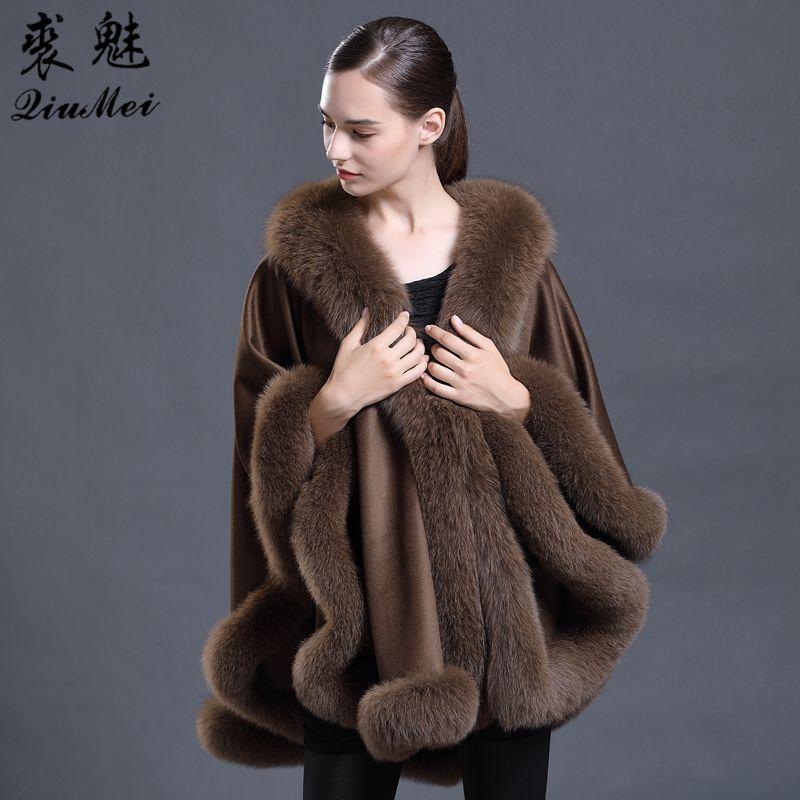 Real Fur Coat Fashion Women Fox Fur Collar Bridal Shawl Cape Wedding Dress Lady Wool Natural Fur Coat Ponchos And Capes Female