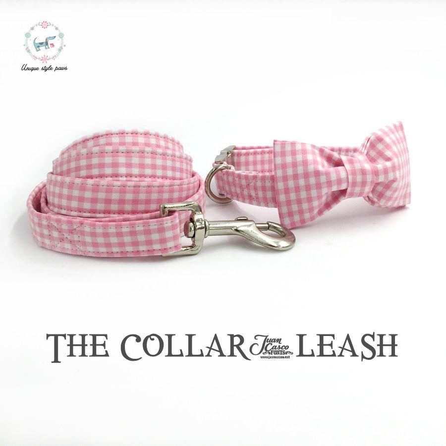 Collier de chien rose et blanc et laisse ensemble avec noeud papillon personnalisé personnalisé ajustable pet pupply 100% coton chien cadeau d'anniversaire