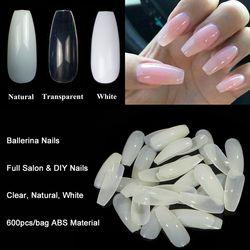 600 pcs/sac Ballerine Nail Art Conseils Transparent/Naturel Faux Cercueil Nails Art Conseils Plat Forme Pleine Couverture Manucure Faux Nail Conseils