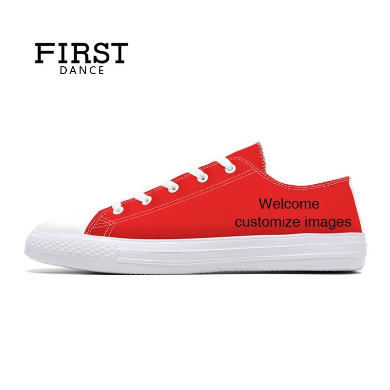 FIRST DANCE Fashion Classic Canvas Shoes Mens Casual Custom Dropshipping Printed Shoes Youth Solid Color Lace Up Flats 3d Shoes
