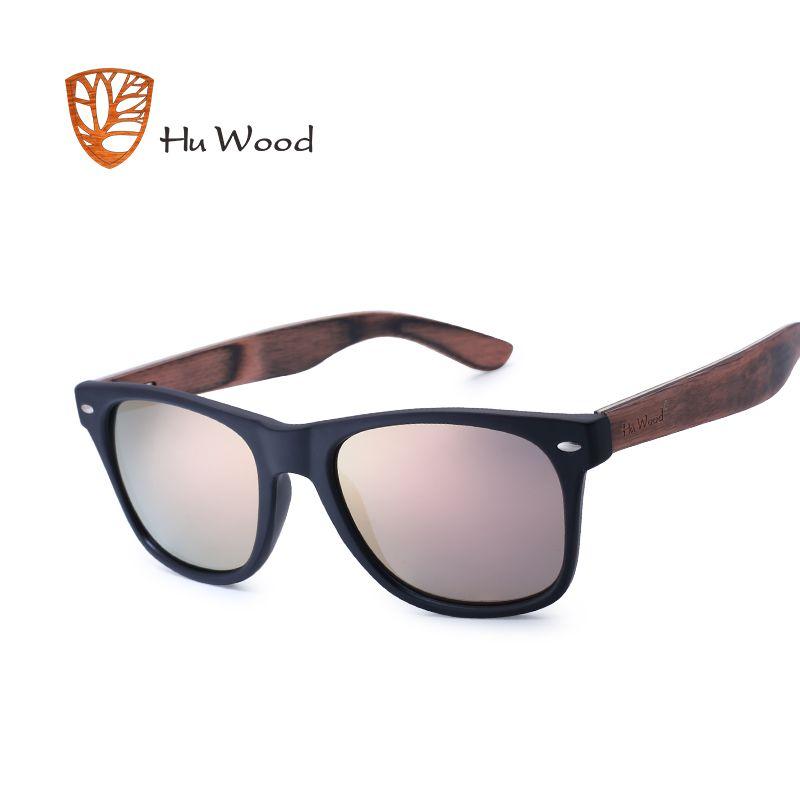 HU BOIS lunettes de Soleil Homme lunettes de Soleil En Bois Pour Unisexe De Mode Femmes Lunettes de Soleil Polarisées Lunettes HD Lentille Conduite Pra GR8004