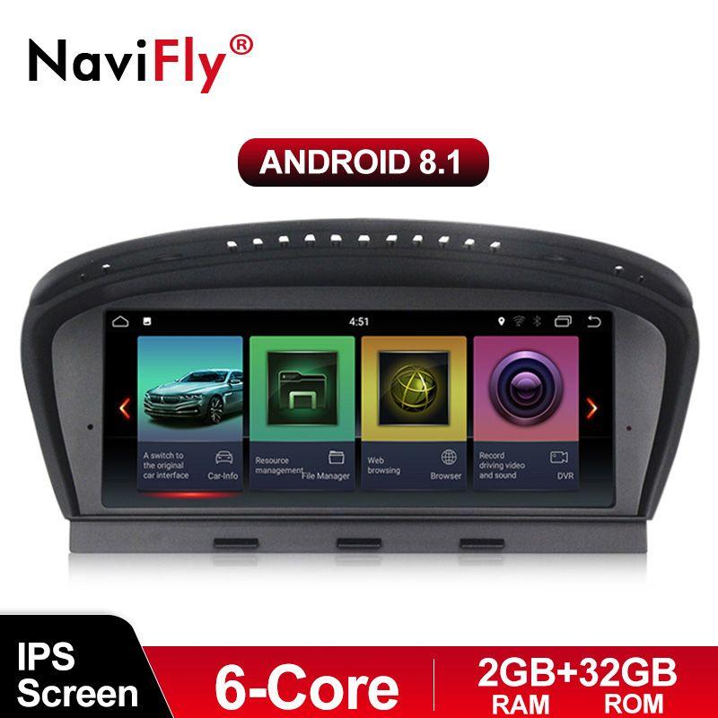 NaviFly 6 core Android 8.1 auto radio multimedia player für BMW 5 Series E60 E61 E63 E64 E90 E91 E92 CCC CIC system ID7 ID6 EVO