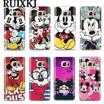 Mickey Minnie Cas Pour Coque Samsung Galaxy S6 S7 Bord S8 9 Plus J3 J5 J7 A3 A5 2016 2017 A8 Plus 2018 Couverture Souple TPU Téléphone Cas