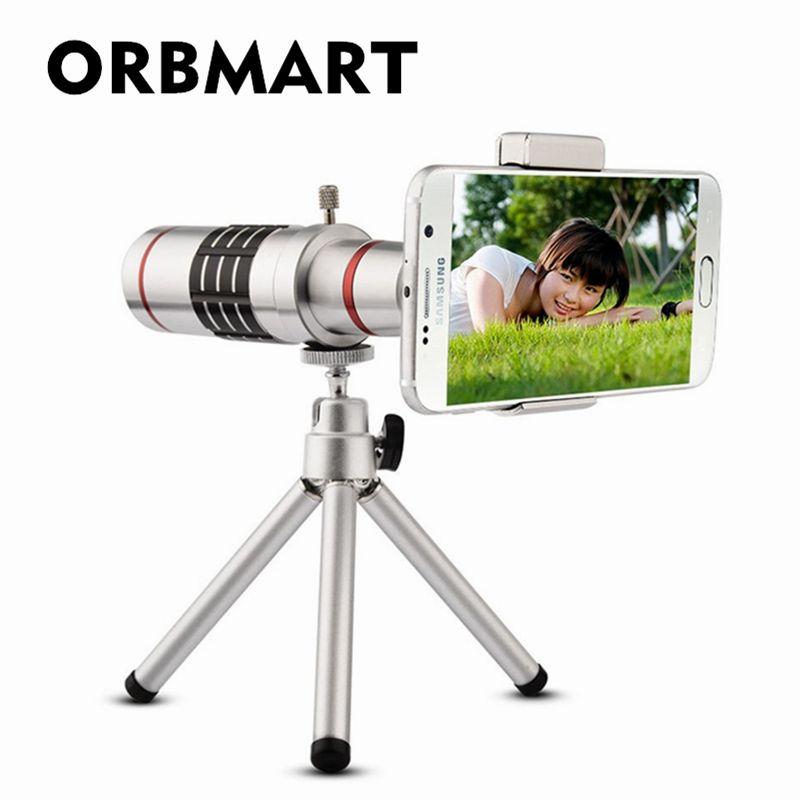 ORBMART Universel 18X Zoom Optique Télescope Avec Mini Trépied Pour Samsung iPhone Xiaomi Redmi Note Meizu Mobile Téléphone Lentilles