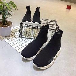 VENTE CHAUDE Enfants Chaussures Haute-Top Cheville Tricoté Chaussures Respirant Parent Enfants Appartements Occasionnels Chaussettes Chaussures Slip Sur Noir EUR 21-43 #