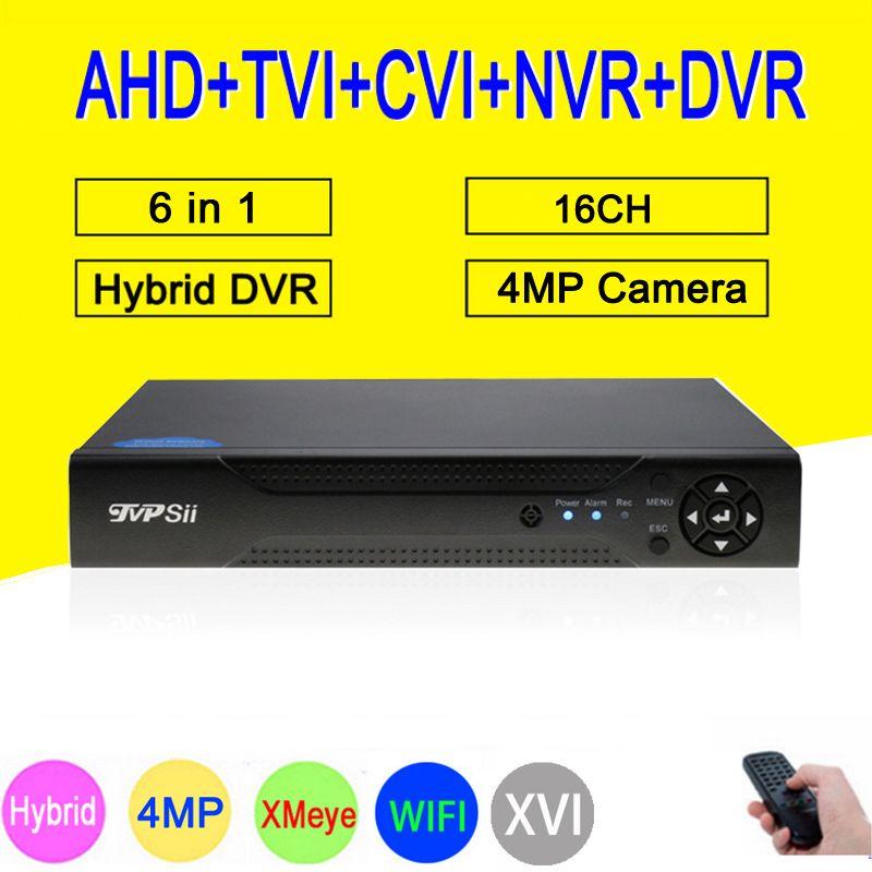Dahua panel XMeye Hi3531A H264+ 4MP16CH 16Channel 6 in 1 Hybrid Coaxial WIFI TVi CVI NVR AHD CCTV DVR Surveillance Video Recoder