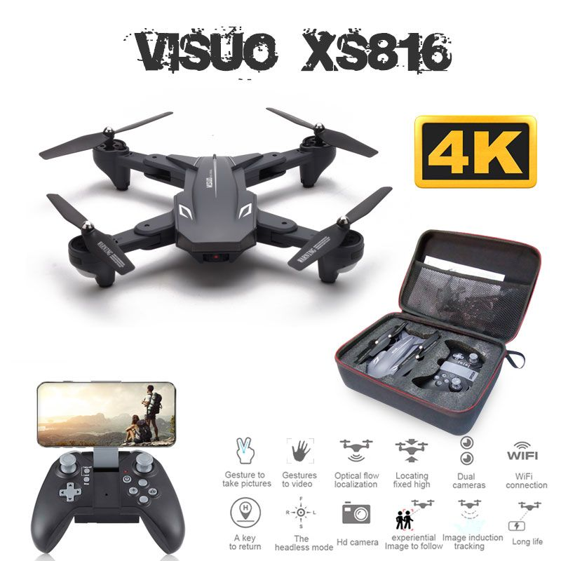 Visuo XS816 Drone with 50 Times Zoom WiFi FPV 720P or 4K Dual Camera Optical Flow Quadcopter Foldable Selfie Dron VS SG106
