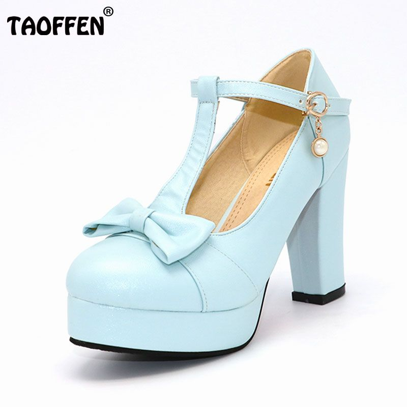 TAOFFEN Women High Heeled Shoes Women Squared Heels Pumps Platform Bowtie Bowknot Shoes Buckle Party Sexy Footwear Size 33-43