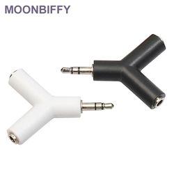 Moonbiffy 3,5 мм двойной разъем адаптер для наушников для Samsumg для iPhone MP3 плеер адаптер для наушников с черного и белого цвета