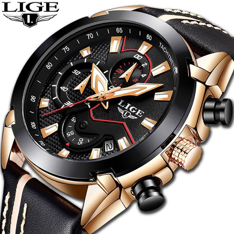 2018 NEW LIGE Top Brand New Design Fashion Watch Men Leather Business Date Chronograph Quartz-Watch Male Clock Relogio Masculino