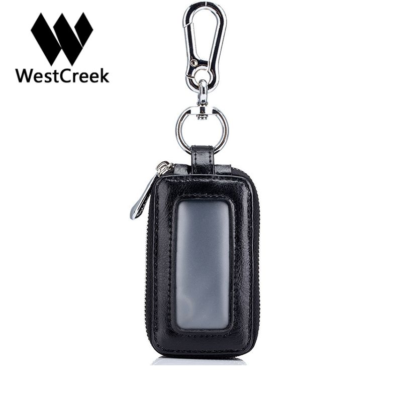 Westcreek Brand Retro Car Key Holder Housekeeper Real Cow Leather Double Zipper Square Home Key Case With Transparent Window