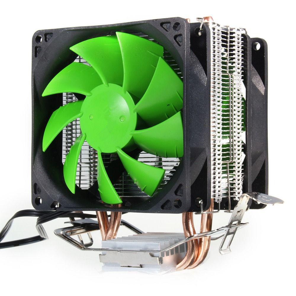 Double Ventilateur Hydraulique CPU Cooler Heatpipe Fans Radiateur Radiateur Pour Intel LGA775/1156/1155 AMD AM2/AM2 +/AM3/AM4 pour Pentium