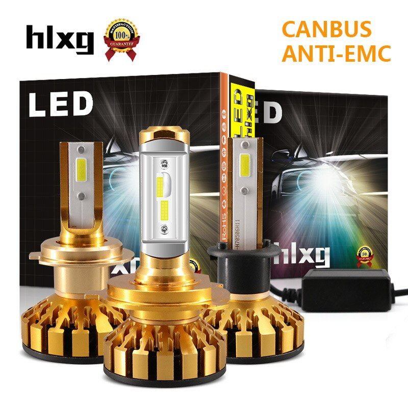 Hlxg Super Mini 12V H7 H4 H11 H1 Led Car Headlights Canbus Silent Fan 10000LM/Set Auto 9005 HB3 9006 HB4 CSP Chips Headlamp N3