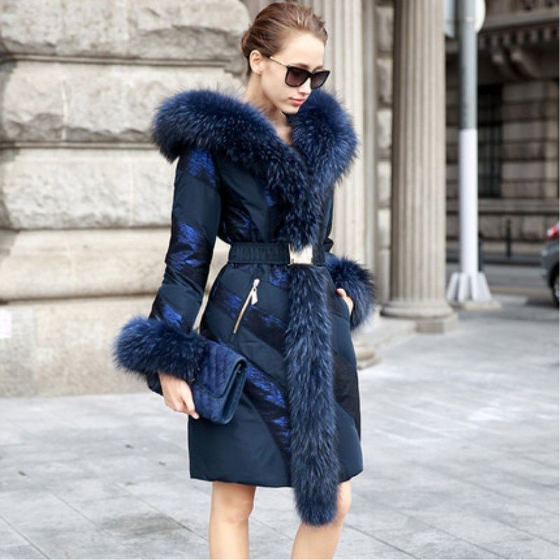 Snowimage Fashion High Quality Medium-long Coat Patchwork Large Fur Collar Female Fashion Slim Thick Winter Clothing