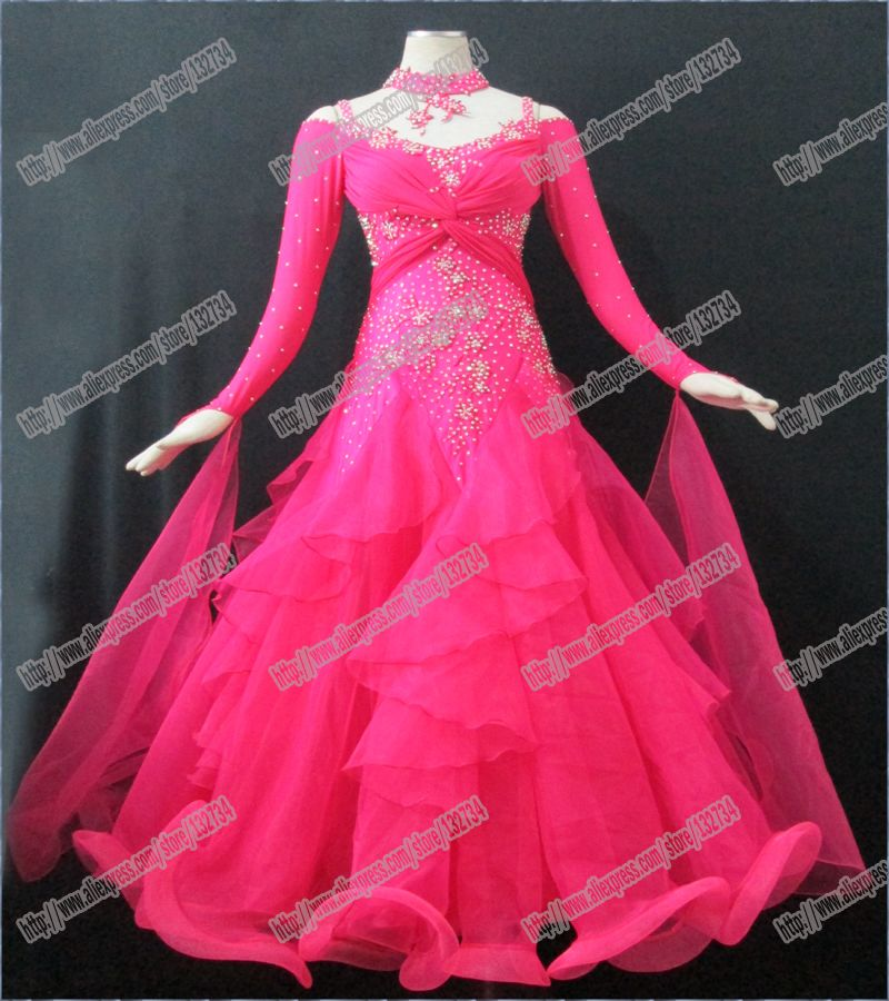 Modern Waltz Tango Ballroom Dance Dress, Smooth Ballroom Dress, Standard Ballroom Dress social dance clohting girl IN RED B-0041