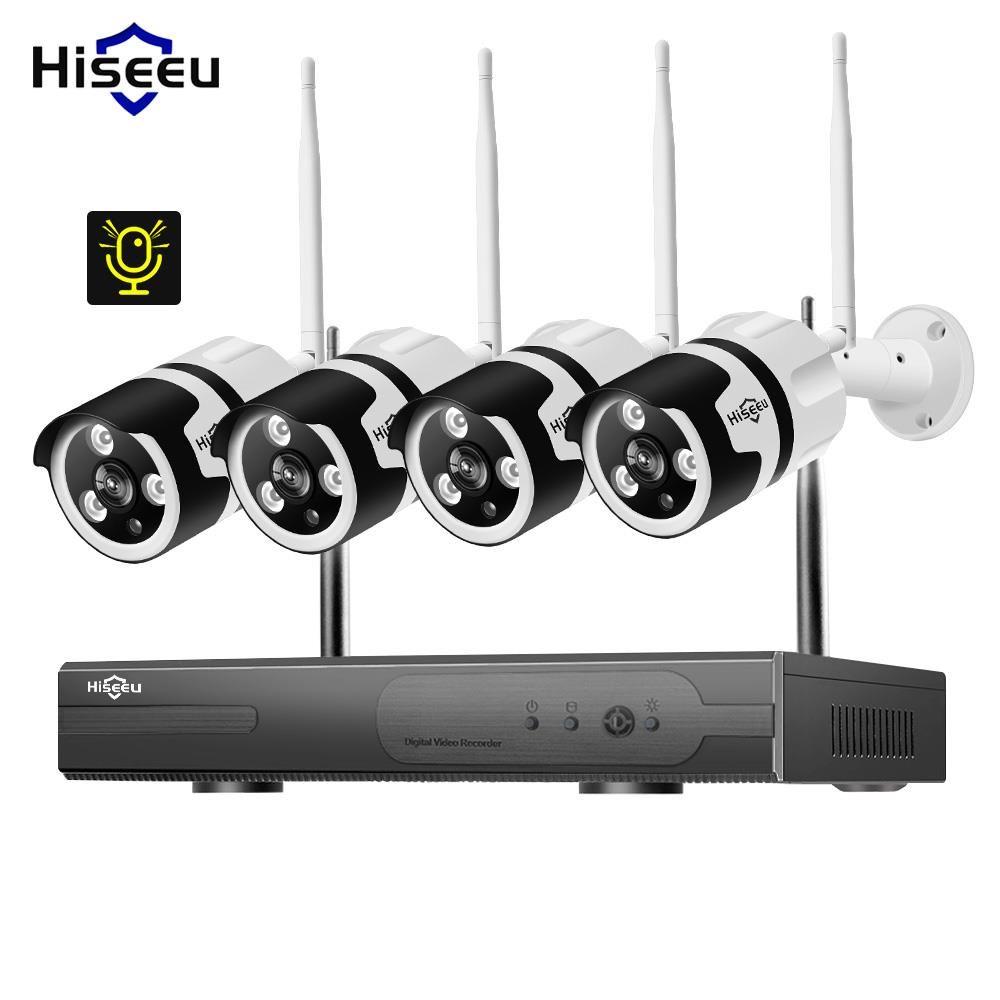 1080 P 4CH Wireless NVR CCTV System audio wifi 2.0MP Outdoor Kugel IP Kamera Wasserdichte Sicherheit Video Überwachung Kit hiseeu