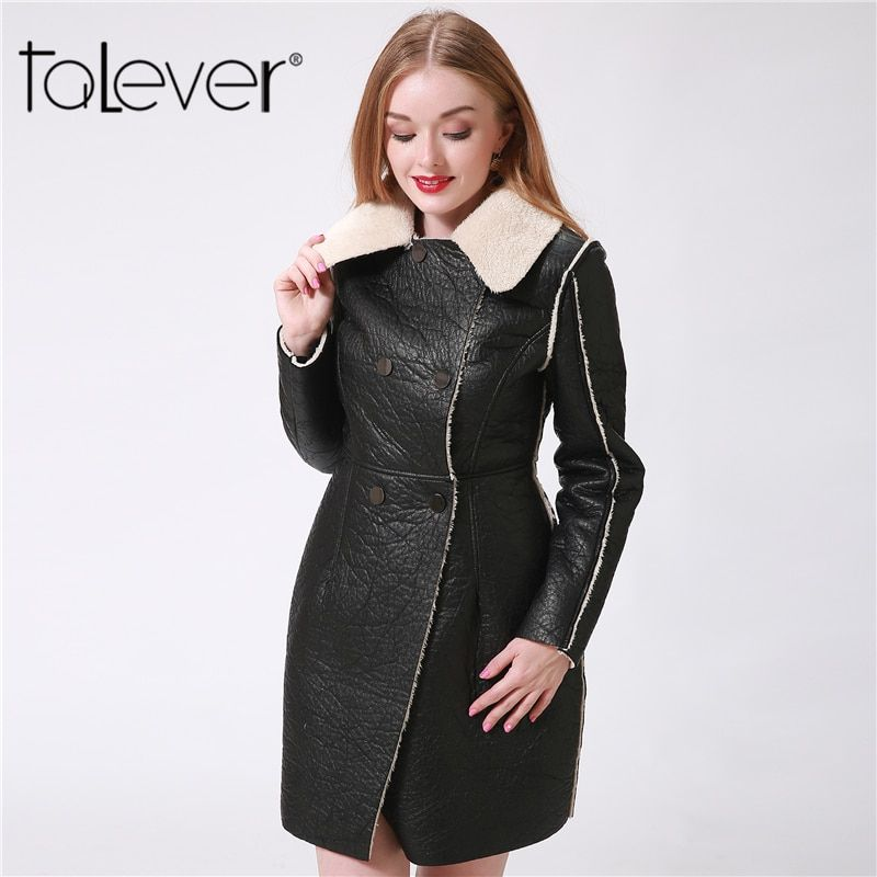 2017 Fashion Winter Black Long Women's Leather Jackets Casual Double Breasted Faux Fur Coat Female  Outerwear PU Jacket Talever
