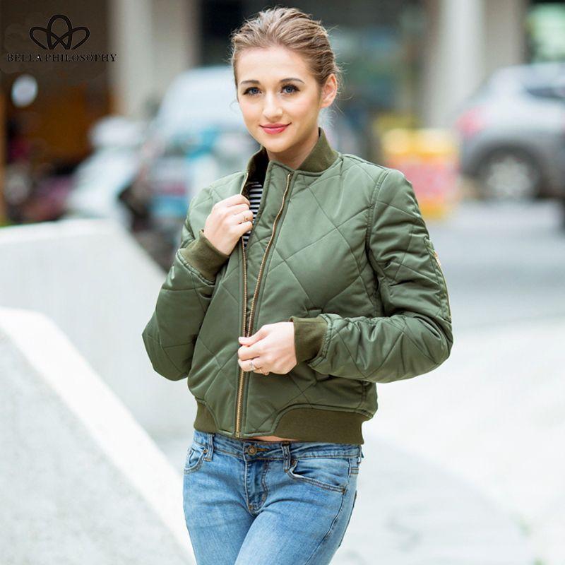 Bella Philosophy 2019 Spring Cotton-padded Bomber jacket Women Coat Zipper Long sleeve Winter Jacket Casual Outwears