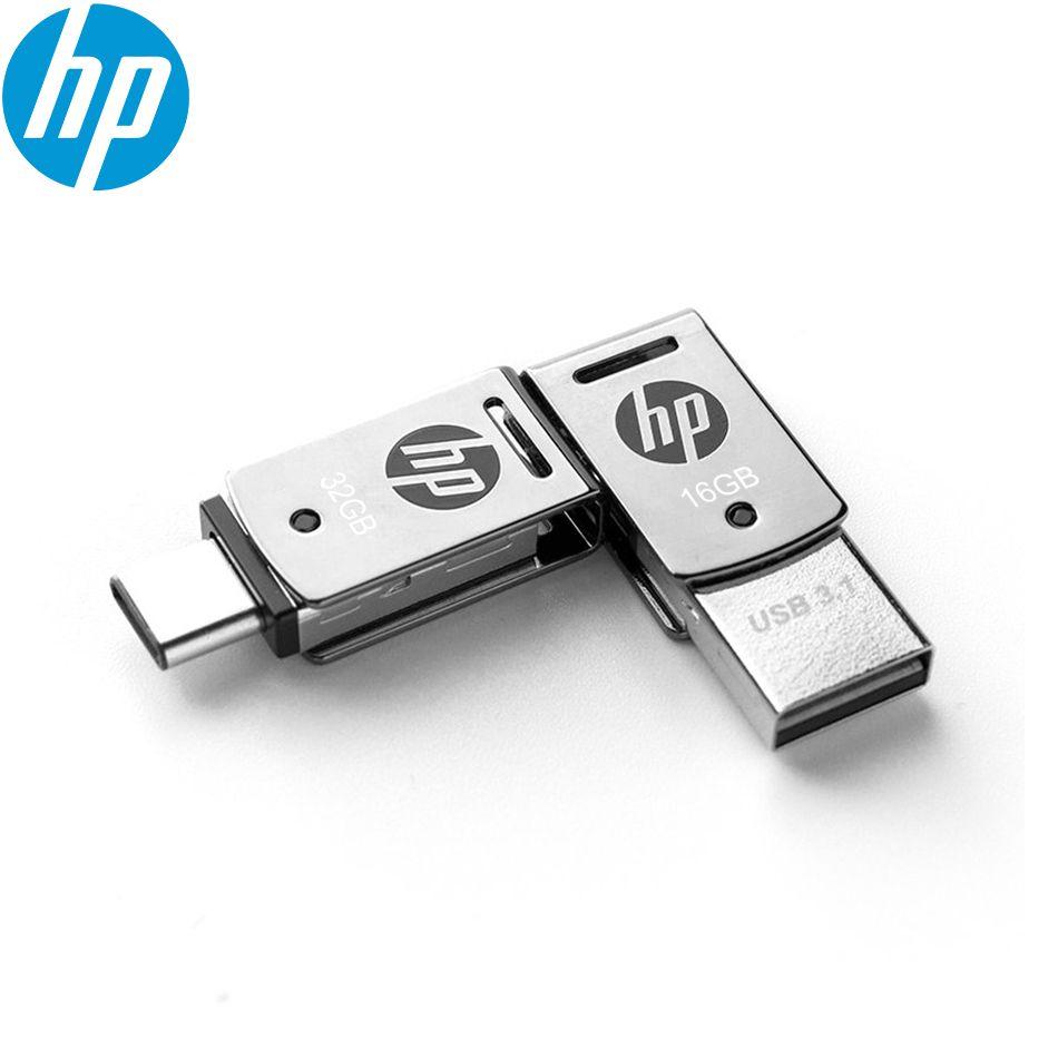 Original HP X5000M Metal OTG Type-C USB 3.1 USB Flash Drive for SmartPhone/Tablet/PC 16GB 32GB 64GB Pendrive High speed St