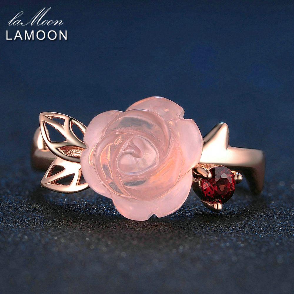 LAMOON bagues de fiançailles pour femmes Rose fleur 100% naturel Rose romantique Rose Quartz 925 en argent Sterling bijoux fins Anel RI025
