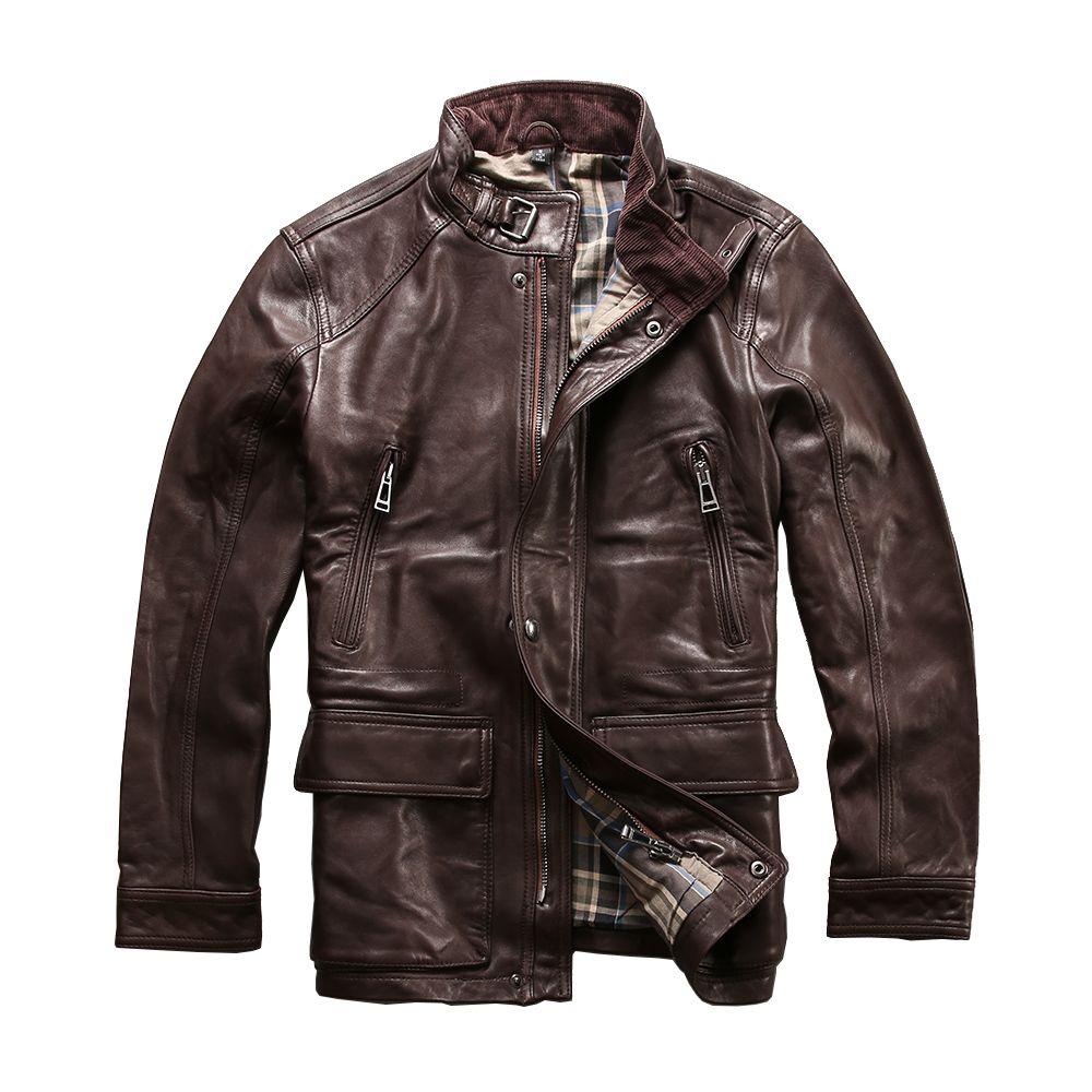Read Description! Asian size men's sheep leather wind coat mens genuine sheepskin leather vintage jacket M6212