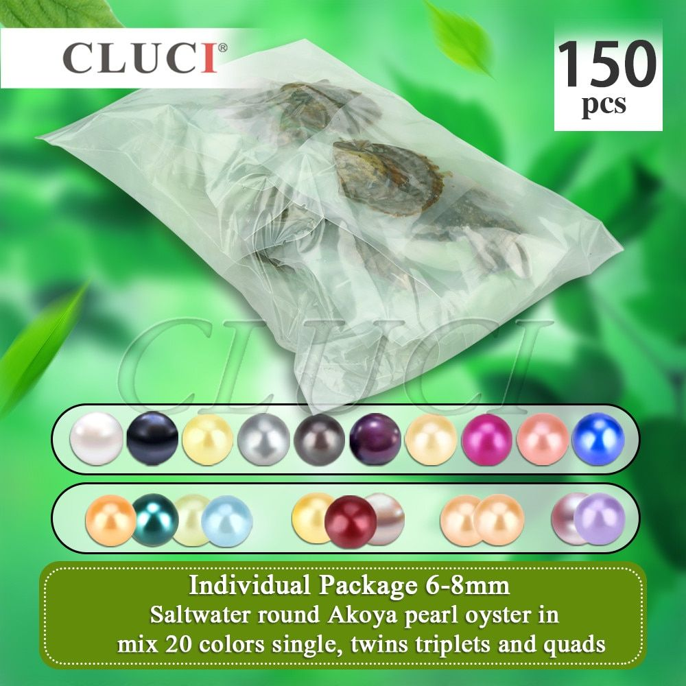 CLUCI 150pcs 6-8mm Mix 20 Colors Natural Round Akoya Pearls AAA Saltwater Beads Vacuum Packed Oysters with Pearls