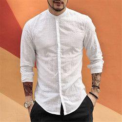 Kasual Mandarin Collar Shirt Pria Katun Linen Desain Merek Slim Fit Pria Lengan Panjang Kemeja Putih Pria Musim Panas S2105
