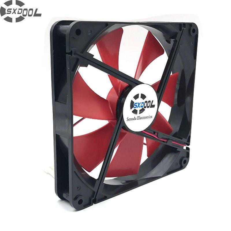 SXDOOL haute qualité meilleur silencieux 140mm pc boîtier ventilateurs de refroidissement 14 cm DC 12 V 4D plug ordinateur refroidisseurs