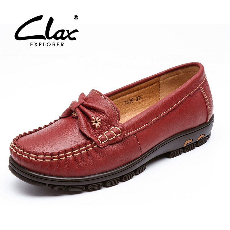 CLAX Mujeres Zapatos de Cuero 2017 Del Otoño Del Verano de la Señora del Cuero Genuino Mocasín mocasines Resbalón en Hecho A Mano Suave Y Cómodo