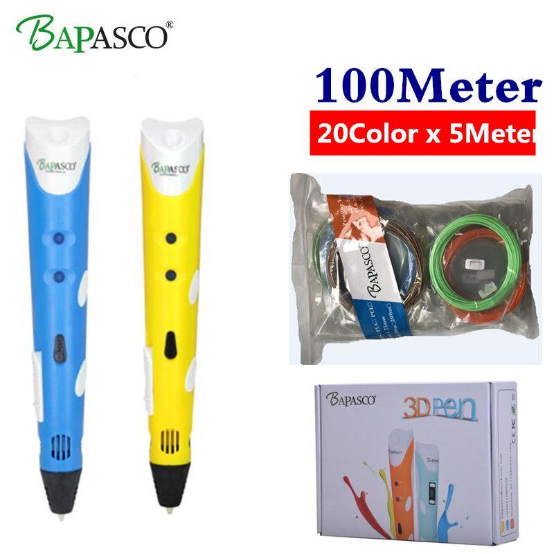 <font><b>BAPASCO</b></font> 3d pen 3d pens Add 100M(20Color) abs filament 3d print pen 3 d pen 2018 DIY Child birthday present graffiti pen-3d model