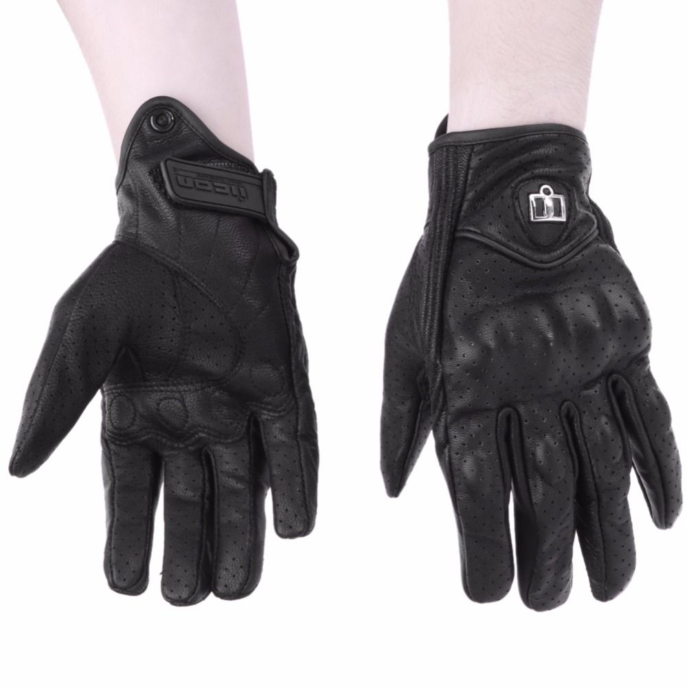 Men Motorcycle Gloves Outdoor Sport Full Finger Moto Riding Protect Armored Black Short Leather Warm Luvas Da Motocicleta M L XL