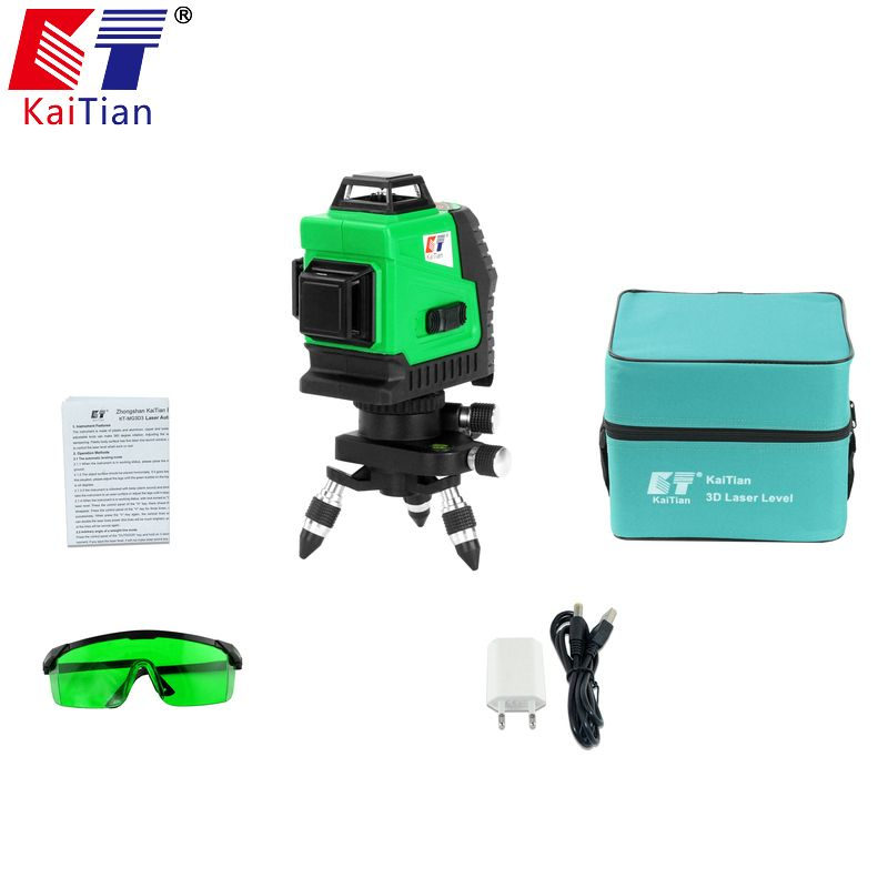 Kaitian 3D Laser Level Green Self-Leveling 360 Horizontal And Vertical Cross 12 Lines Livella Laser Verde 532nm Laser Beam Line