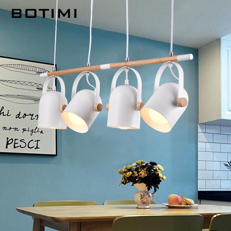 BOTIMI Adjustable LED Pendant Lights For Dining Modern Iron Pendant Lamp with Metal Lampshades E27 Suspension Lighting Fixtures