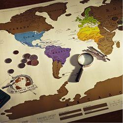 1 PCS Retro Scratch OFF MAP Travel Scratch Globe World Map 88x52cm School Office Decor Vintage Poster Novelty Gift kk