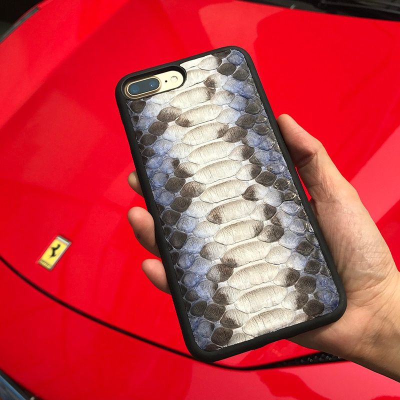 Luxury Genuine Leather phone Case for iphone 7 X plus SE real python skin design style cover cell phone Accessories custom name