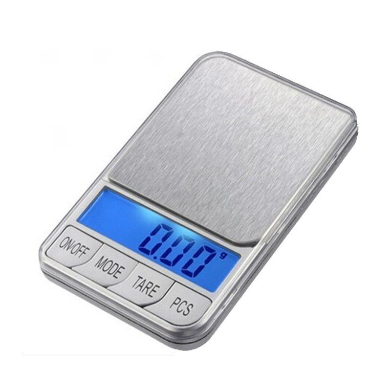 500g 0.01 LCD balances électroniques 500g 0.01g Balance de bijoux de poche numérique grande plate-forme en acier inoxydable Balance de poids + 7 unités